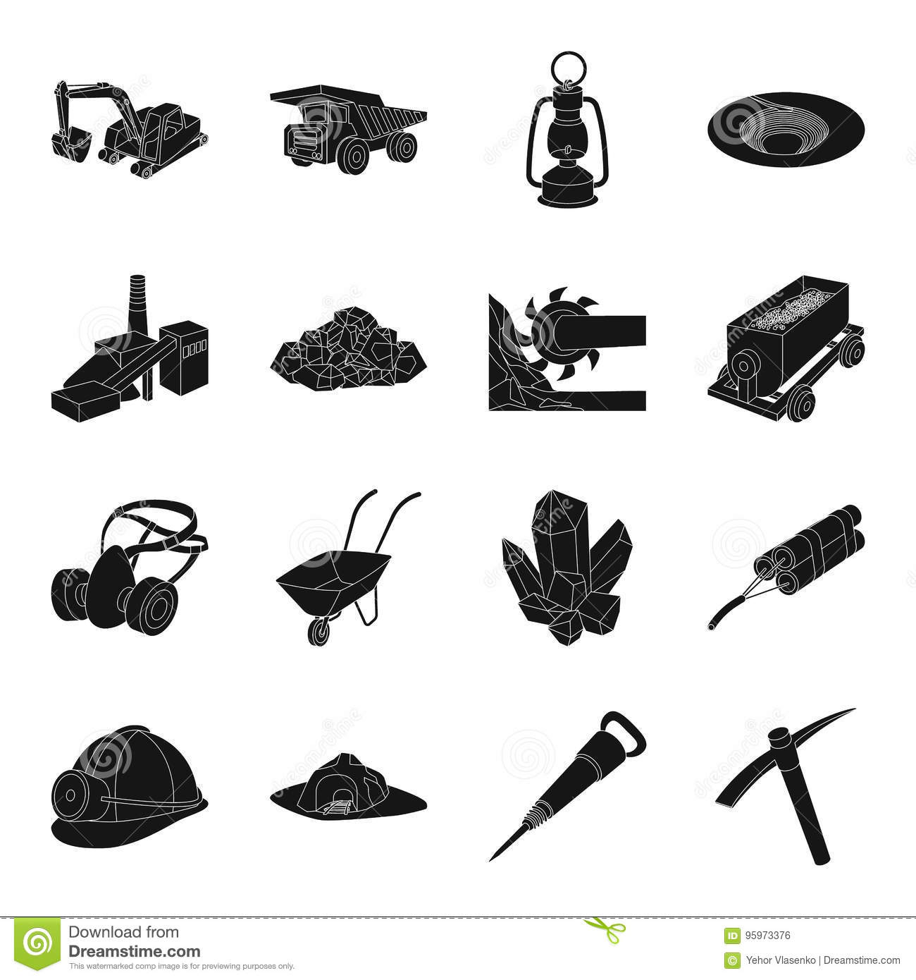 28b36da229 Excavator, jackhammer, helmet and other items for the mine. Mine set  collection icons