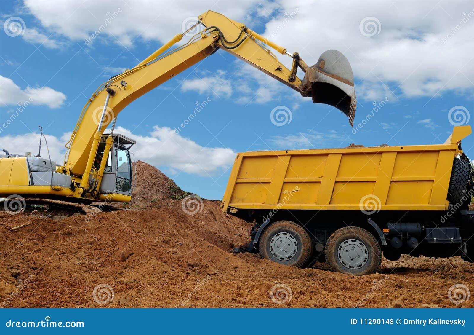 excavator loading dumper truck royalty free stock photos image