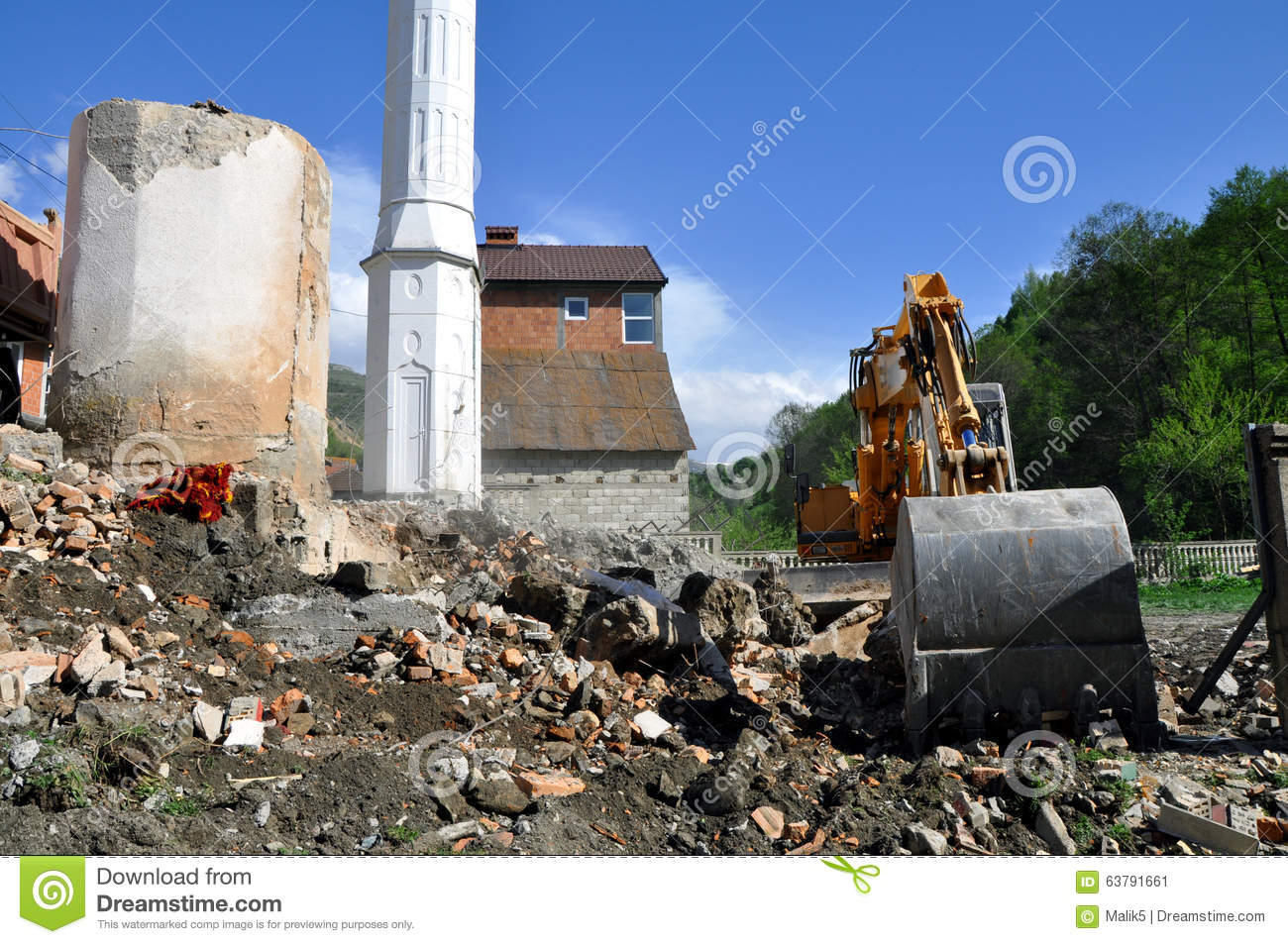Construction Site Soil : Excavator moving soil and sand on construction site stock