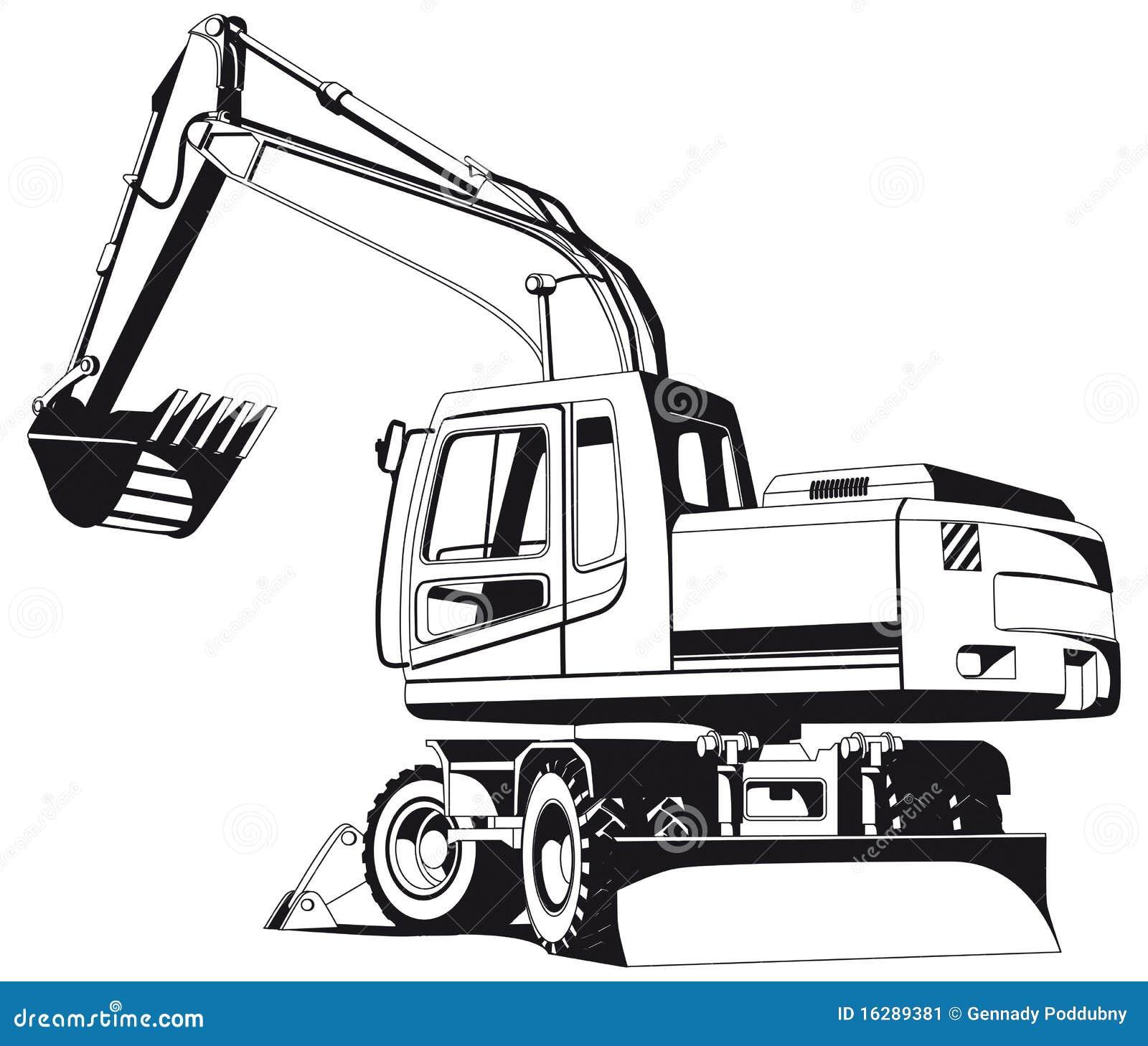 Excavator Outline Stock Vector Illustration Of Bucket