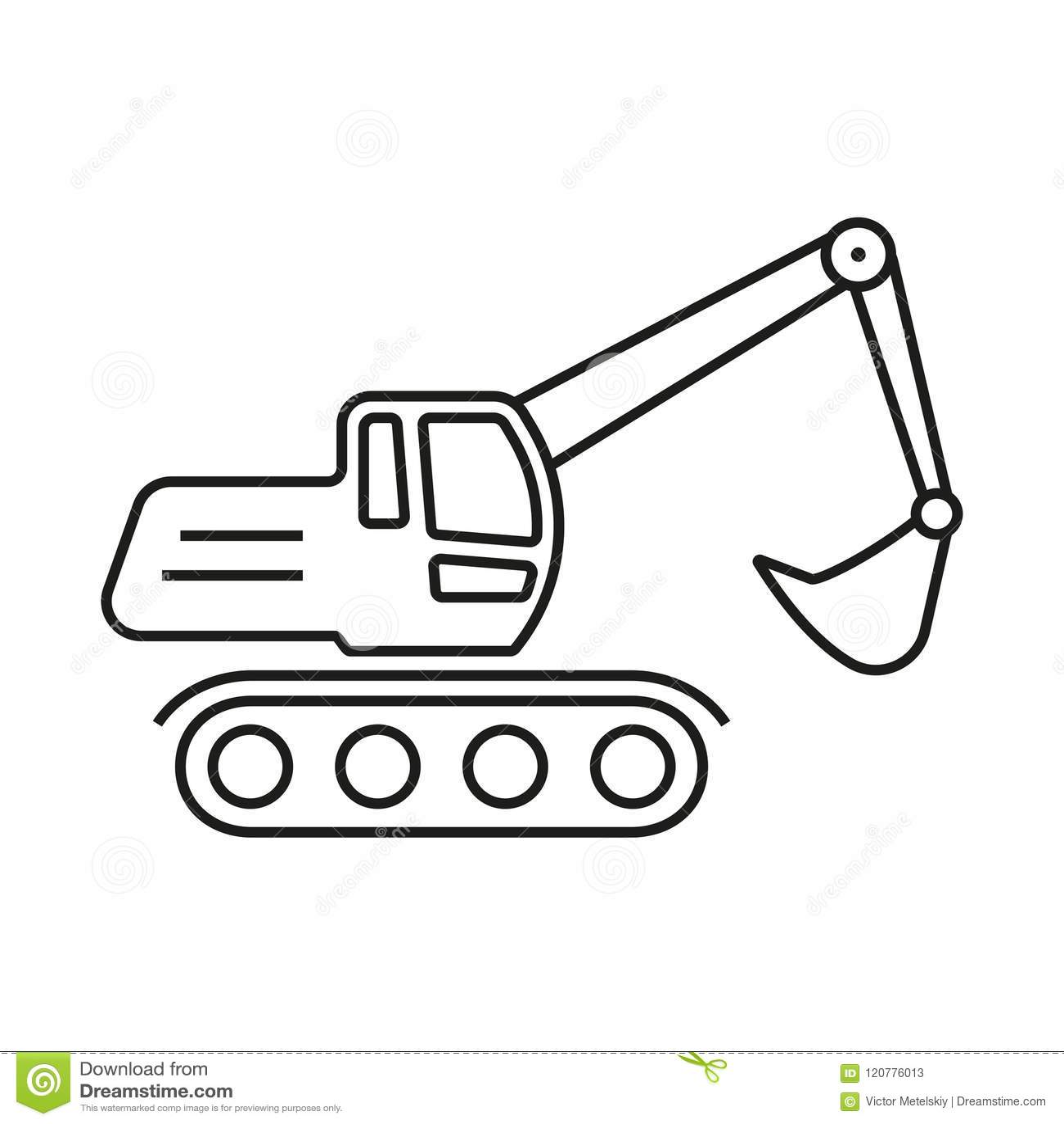 Excavator Outline Icon Digger Symbol Vector Illustration