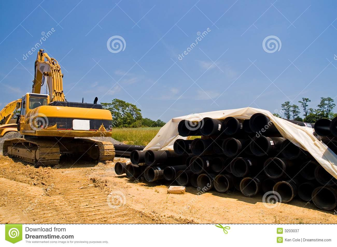 Excavator and water pipes