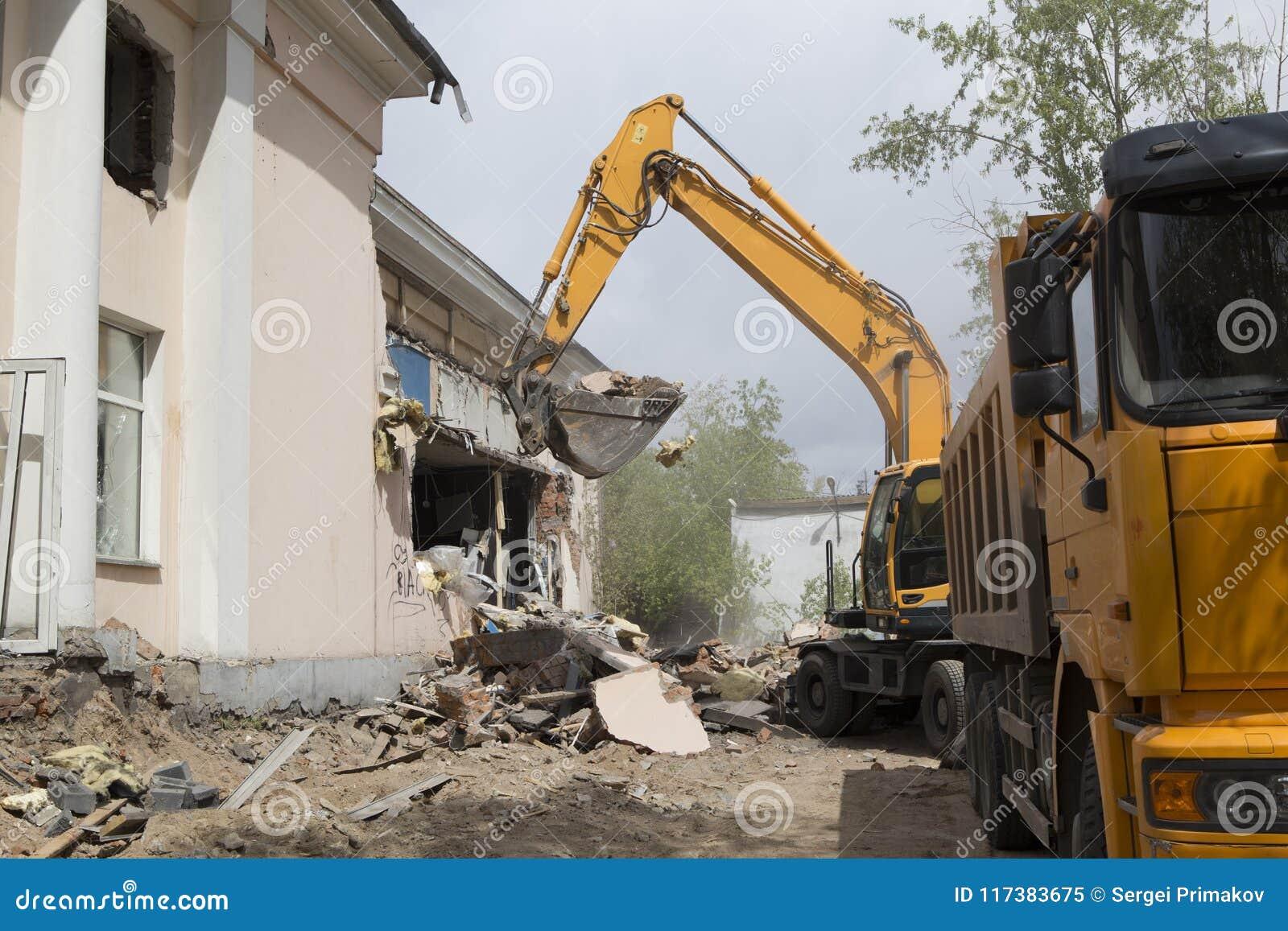 Loading Of Construction Debris After Demolition Of A