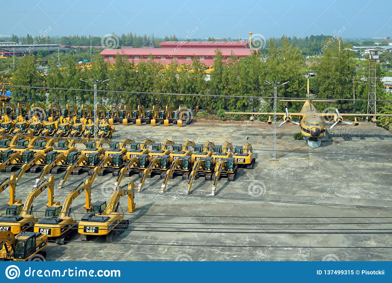 Excavators Company Caterpillar On Pre-sale Parking In The