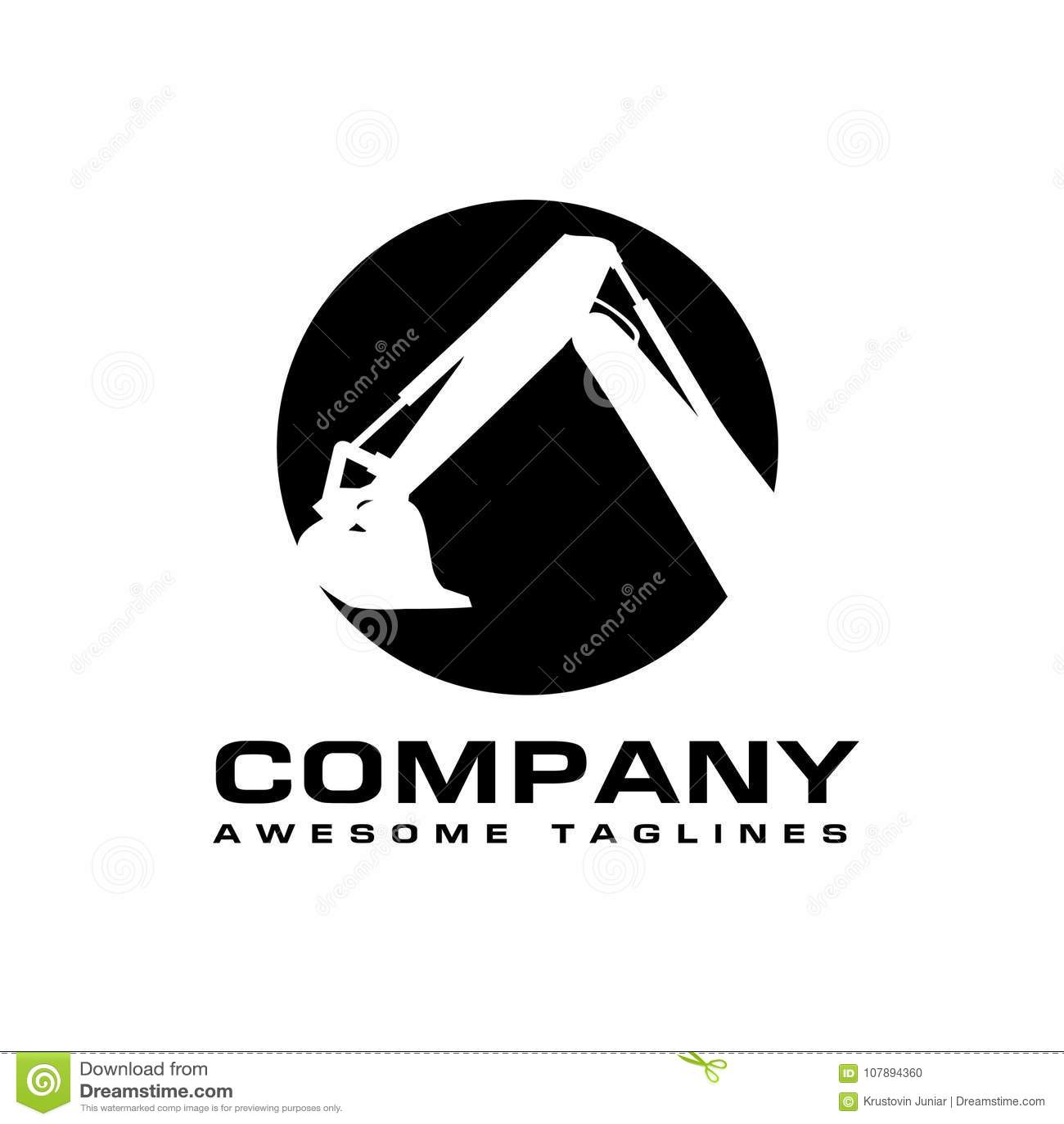excavators construction machinery logo stock vector