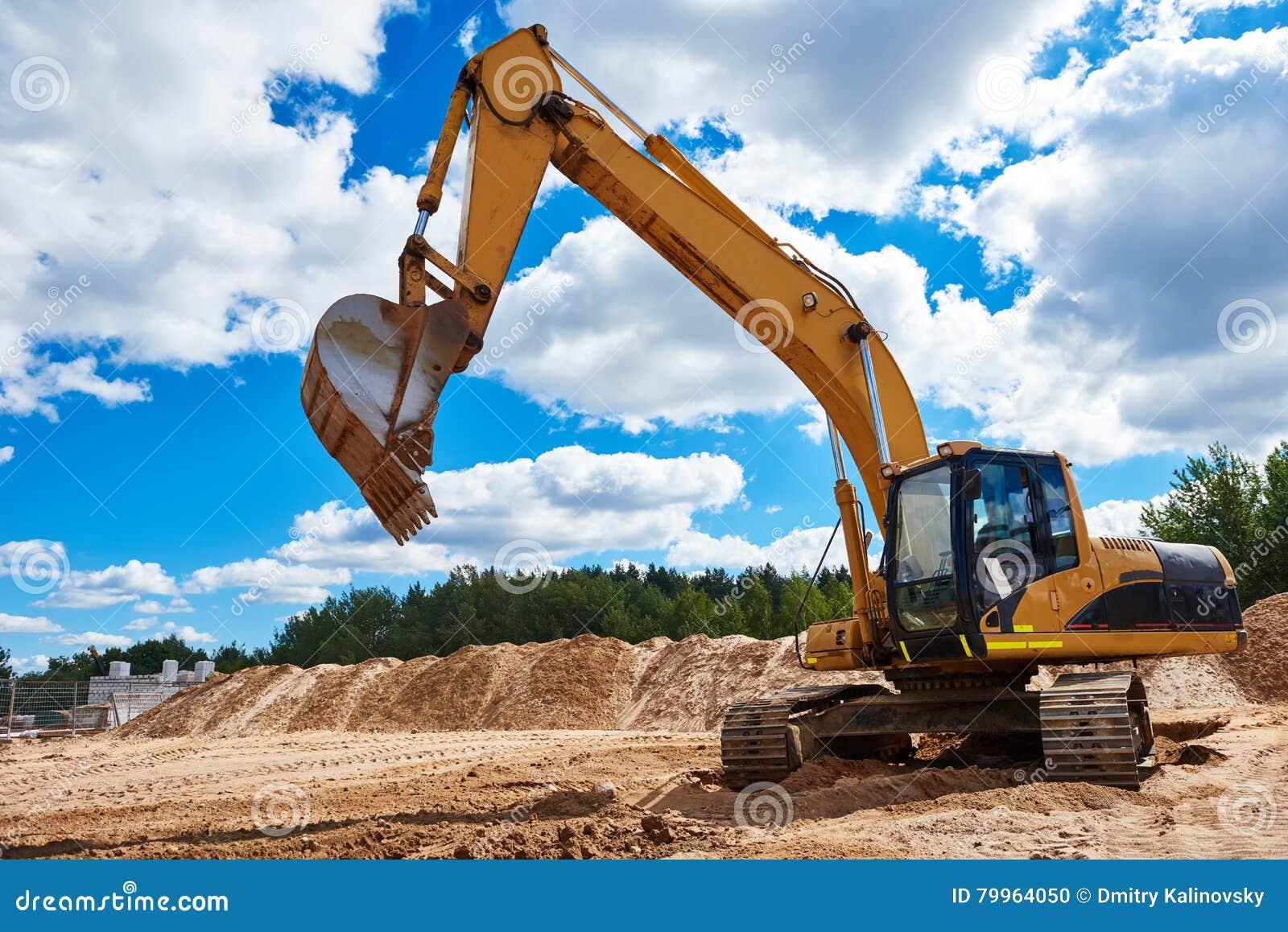 excavatrice de chargeur au bac sable pendant les travaux de terrassement photo stock image. Black Bedroom Furniture Sets. Home Design Ideas