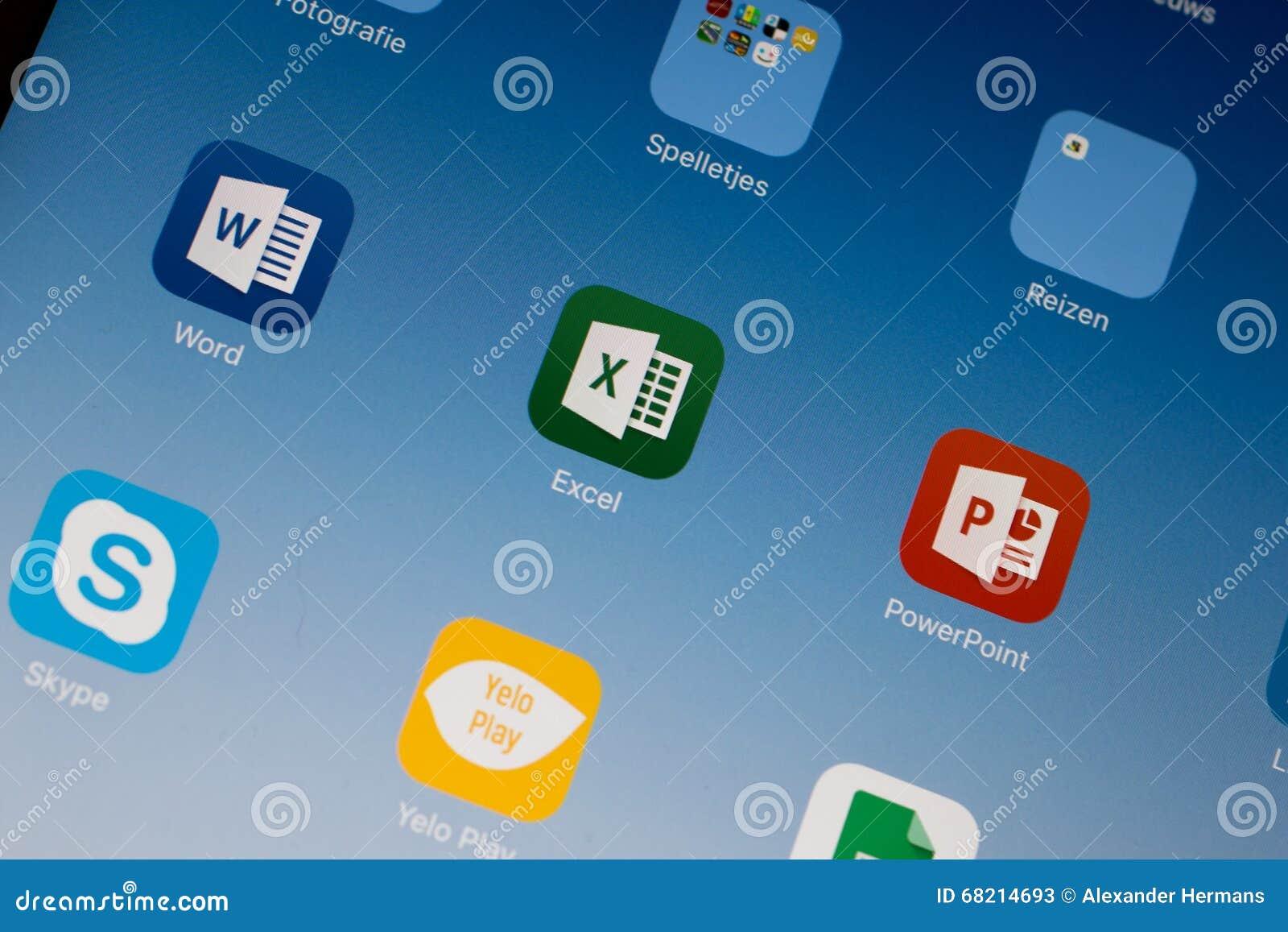 Microsoft Office Excel/Word/Powerpoint application thumbnail / logo on an iPad Air