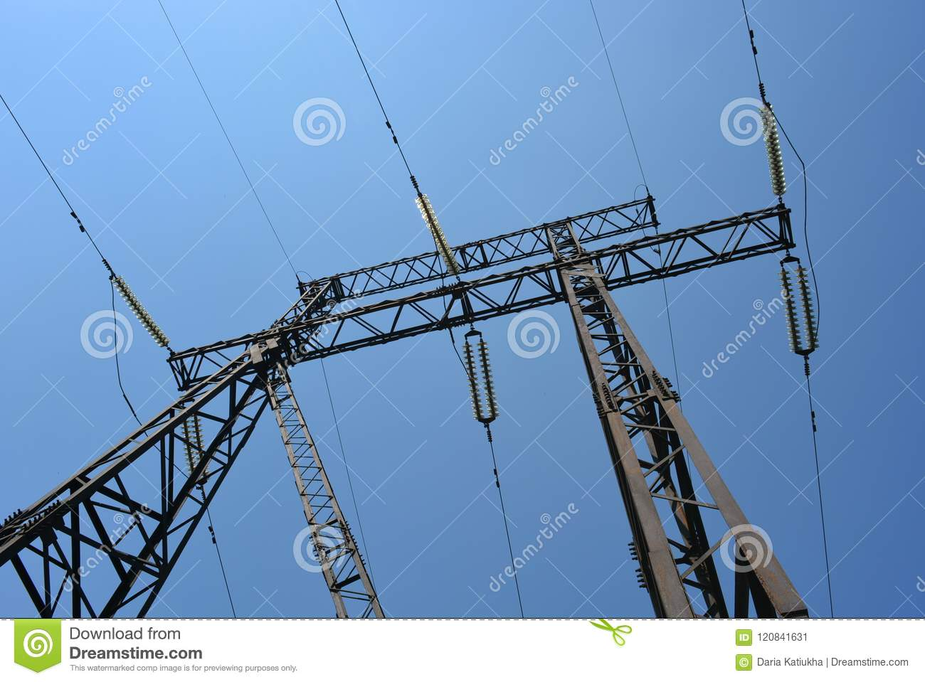 Blue Sky With Black Electrical Wires, City Electricity, Power Line ...