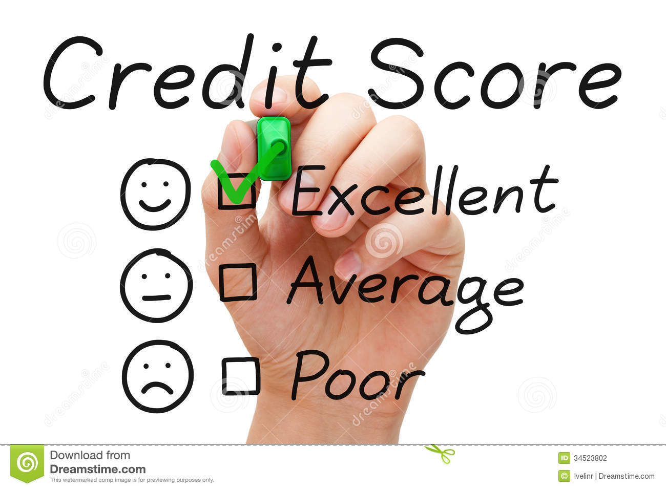 Excellent Credit Score stock photo  Image of application - 34523802
