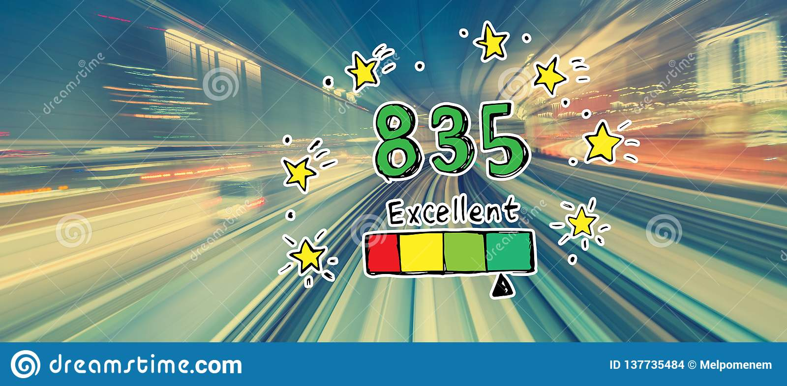 Excellent credit score theme with high speed motion blur