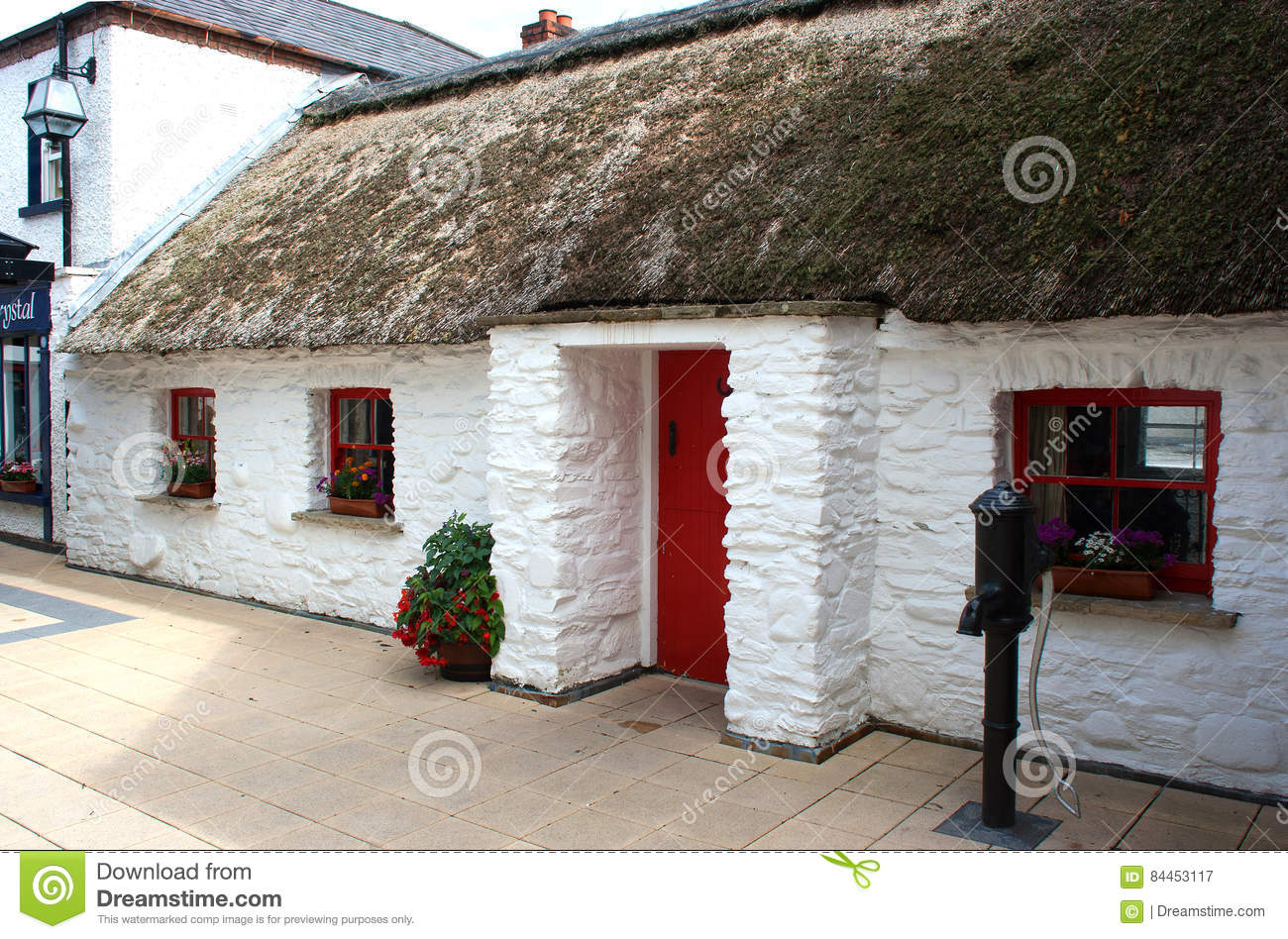 Download An Excellent Example Of A Preserved Irish Cottage With Superb Thatched Roof In Londonderry Ireland Stock Image - Image of stone, history: 84453117