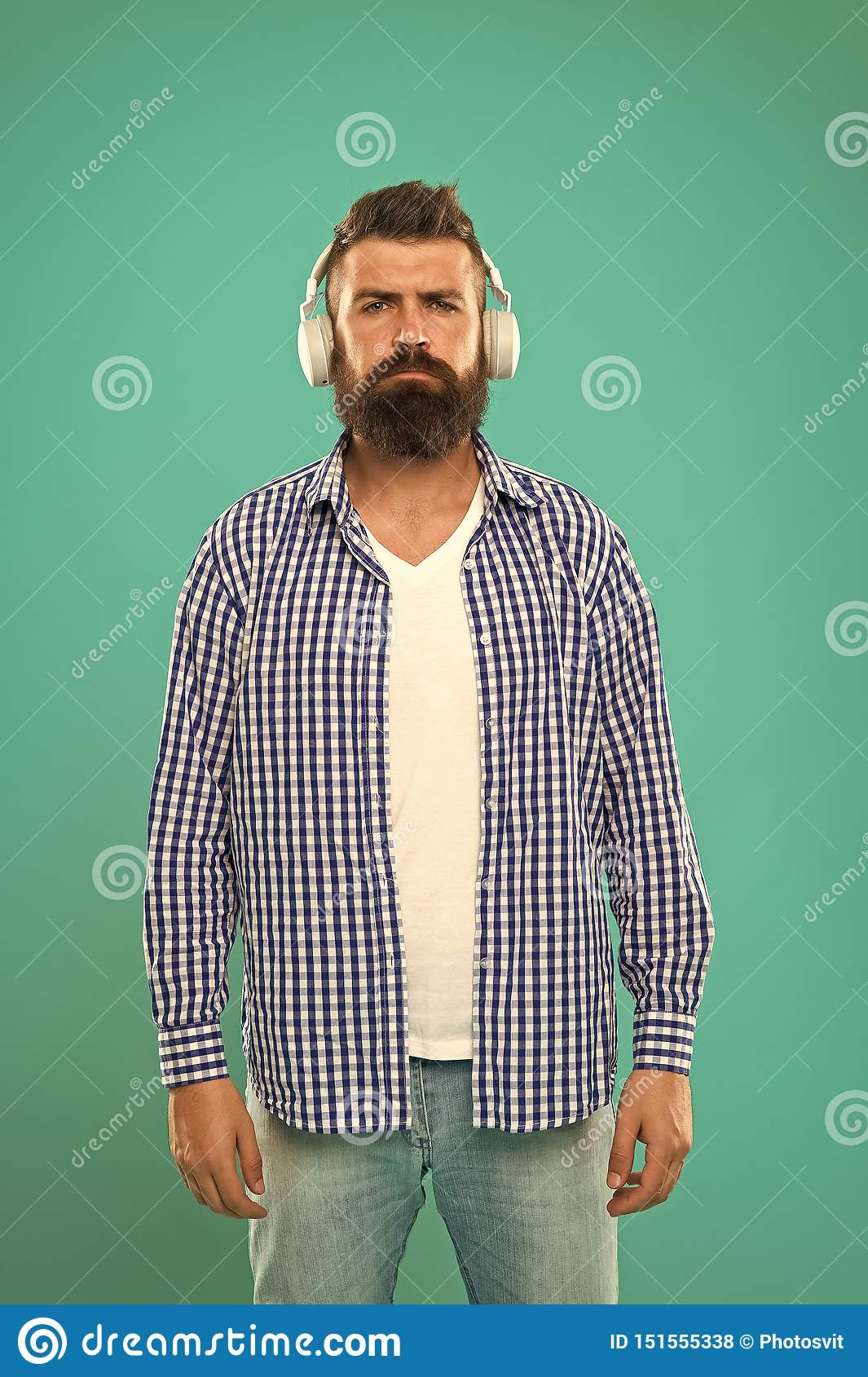 Excellent sound. Music library concept. Walking with music. Lifestyle urban citizen. Music always with me. Man listening