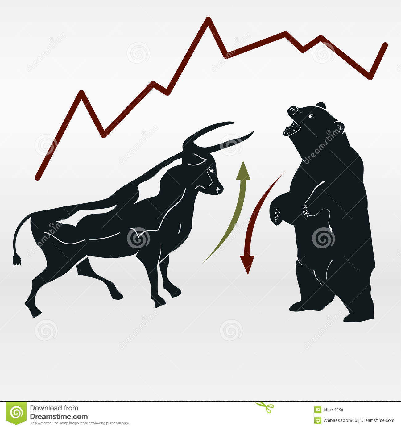 Exchange Bull And Bear Market Report Stock Vector