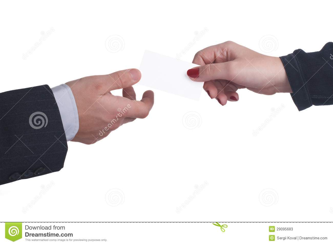 Exchange Business Cards Between A Man And A Woman On White ...