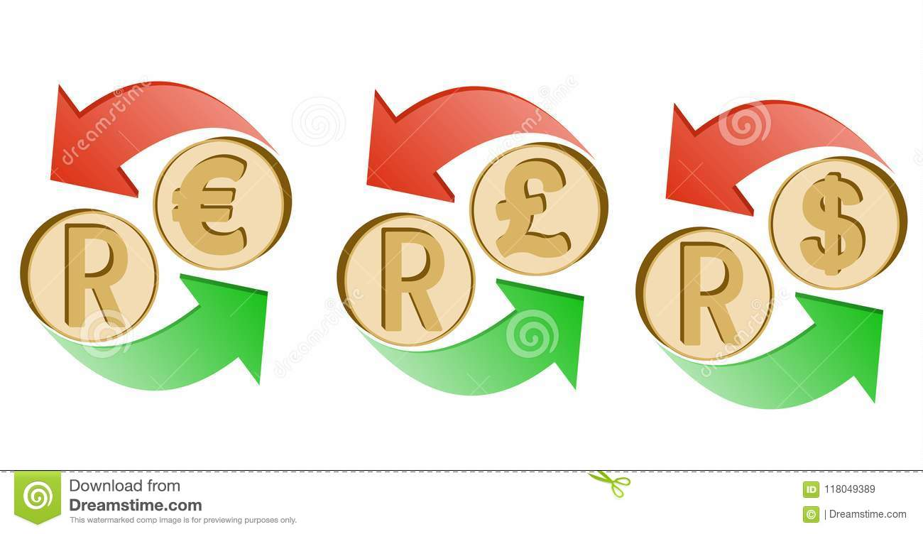 Exchange Rand To Euro, Pound Sterling And Dollar Stock Vector - Illustration of dollar, african ...