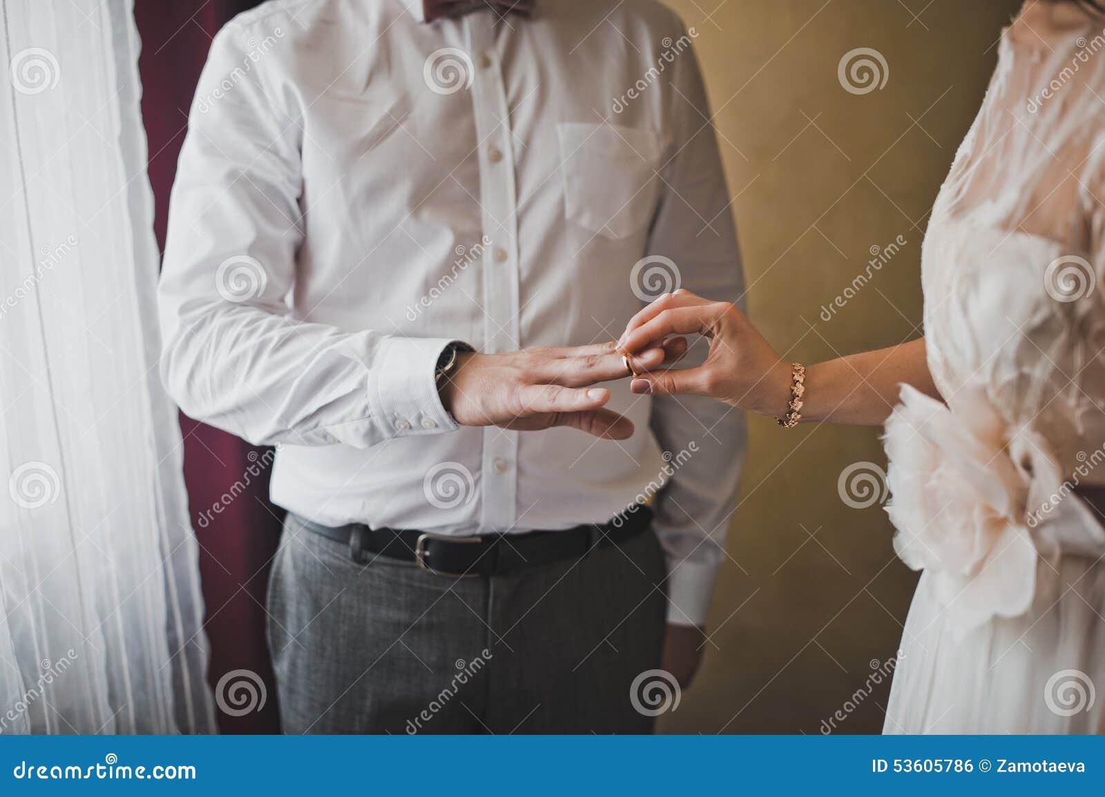 Exchange Of Wedding Rings Stock Image