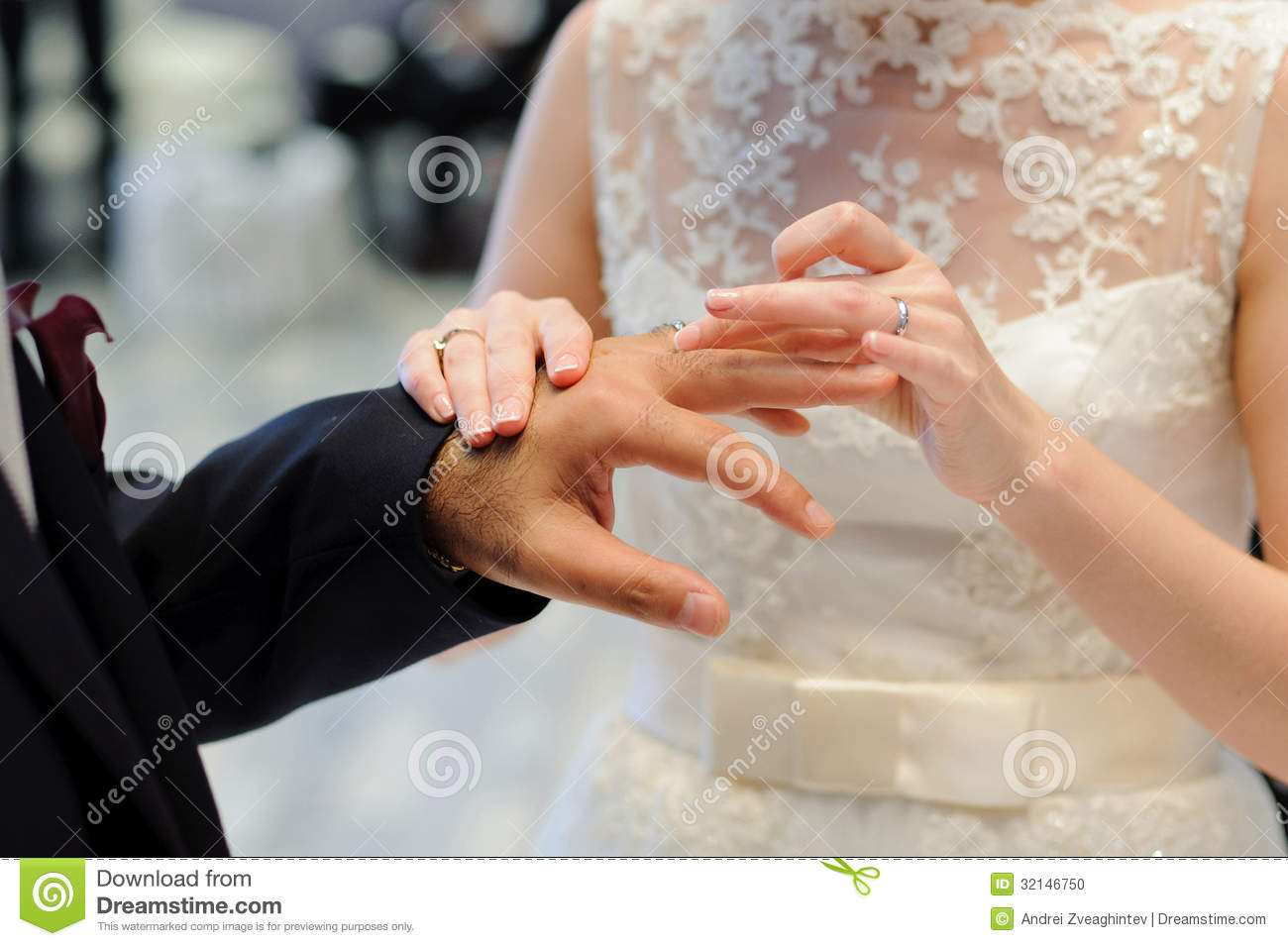 Exchanging Wedding Rings During Ceremony Stock Photo Image 32146750