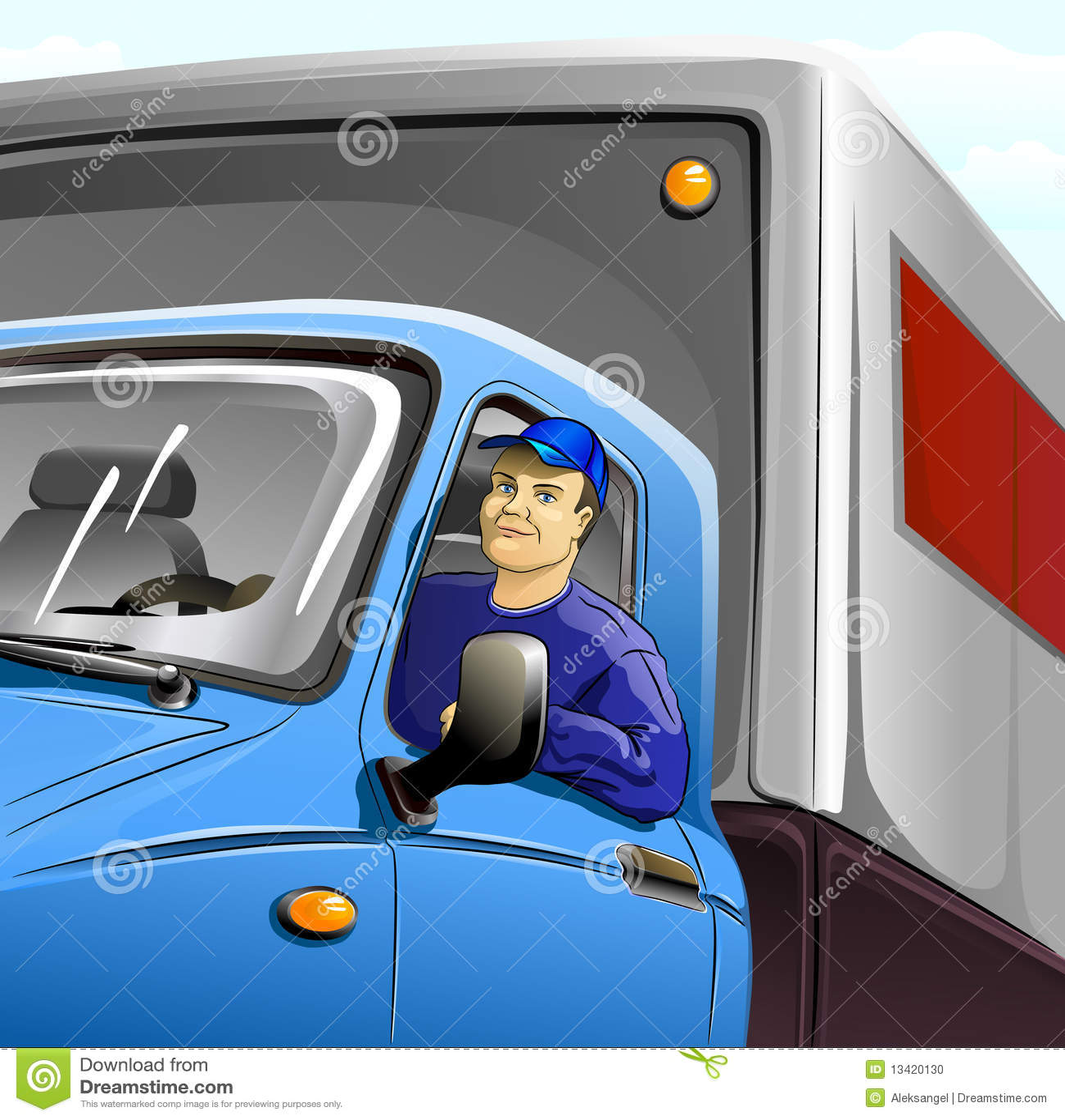 Excitador na cabine do caminhão