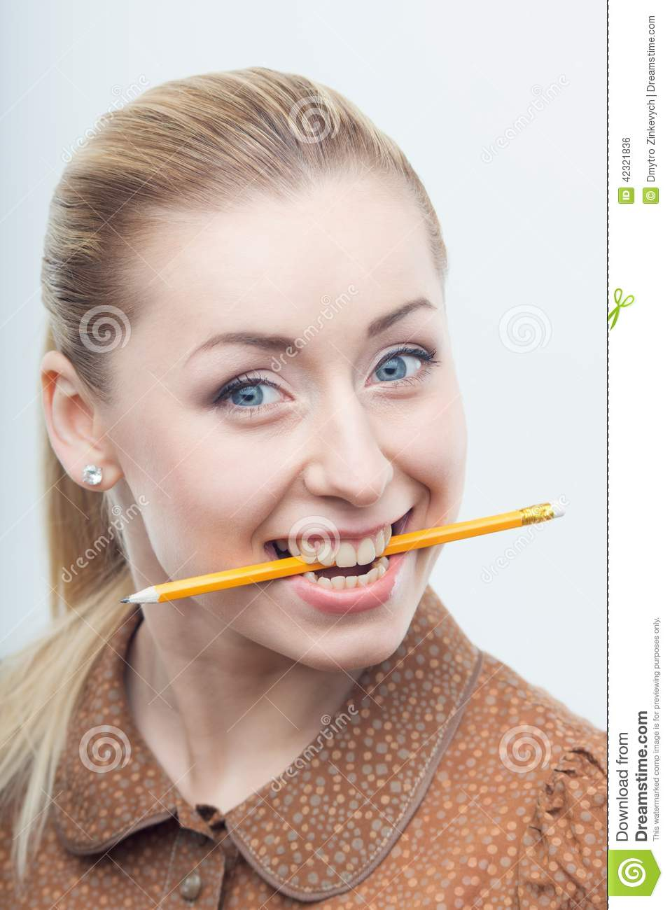 excited attractive woman biting pencil stock photo image of chew employee 42321836