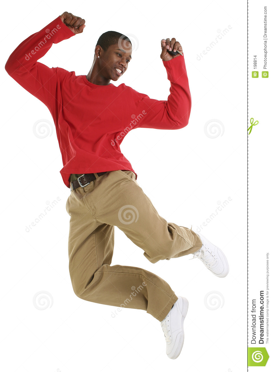 excited black man jumping for joy with car keys stock photo image