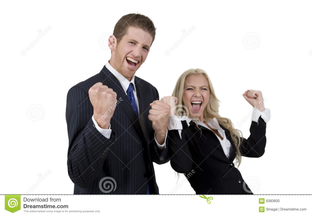 Excited business couple