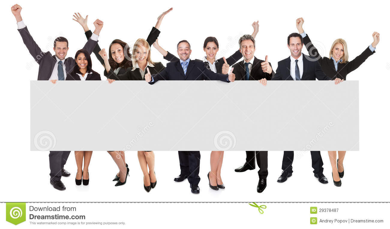 Royalty Free Stock Photography Excited Business People Presenting Empt...