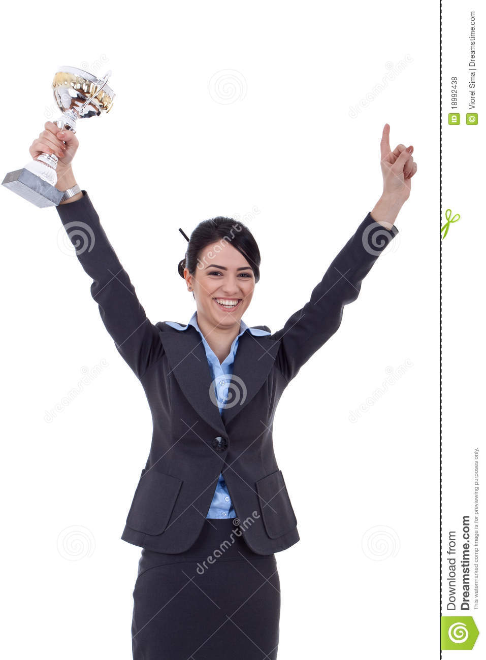 Excited business woman winning a trophy