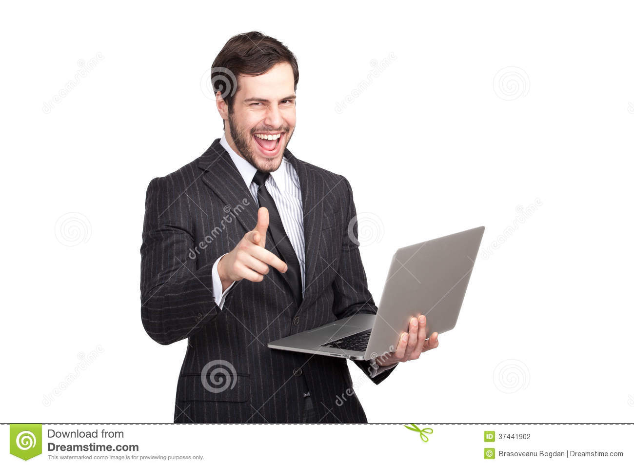 Excited businessman with a laptop