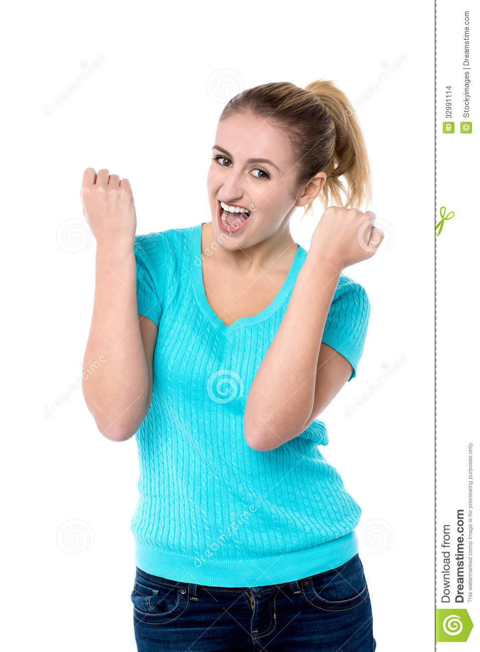 Excited Charming Girl With Clenched Fists Stock Images ...