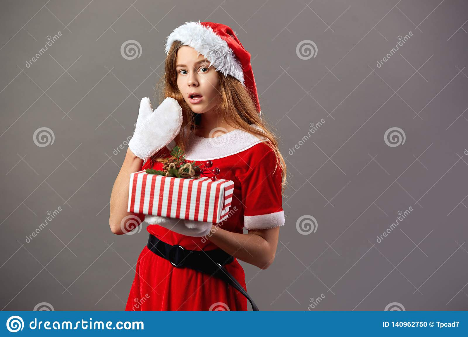 93368c416d383 Excited Charming Mrs.Claus Dressed In The Red Robe