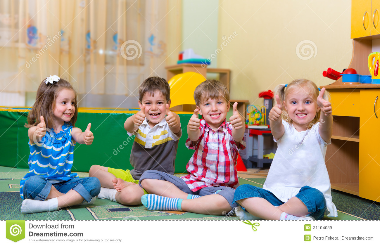 Child Care Floor Plans Excited Children Holding Thumbs Up Stock Image Image