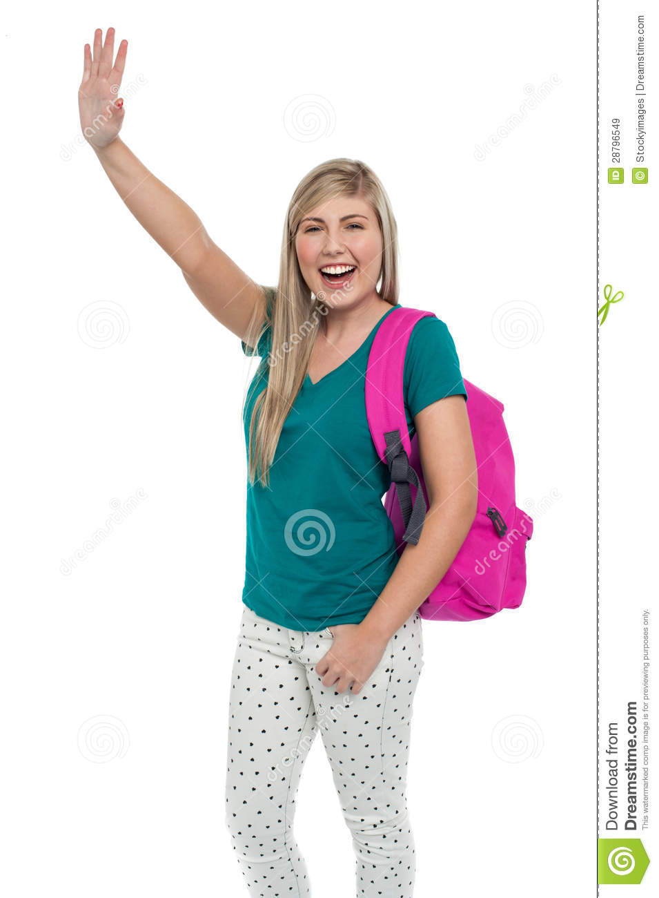 Female Student With Her Hand Raised Royalty Free Stock