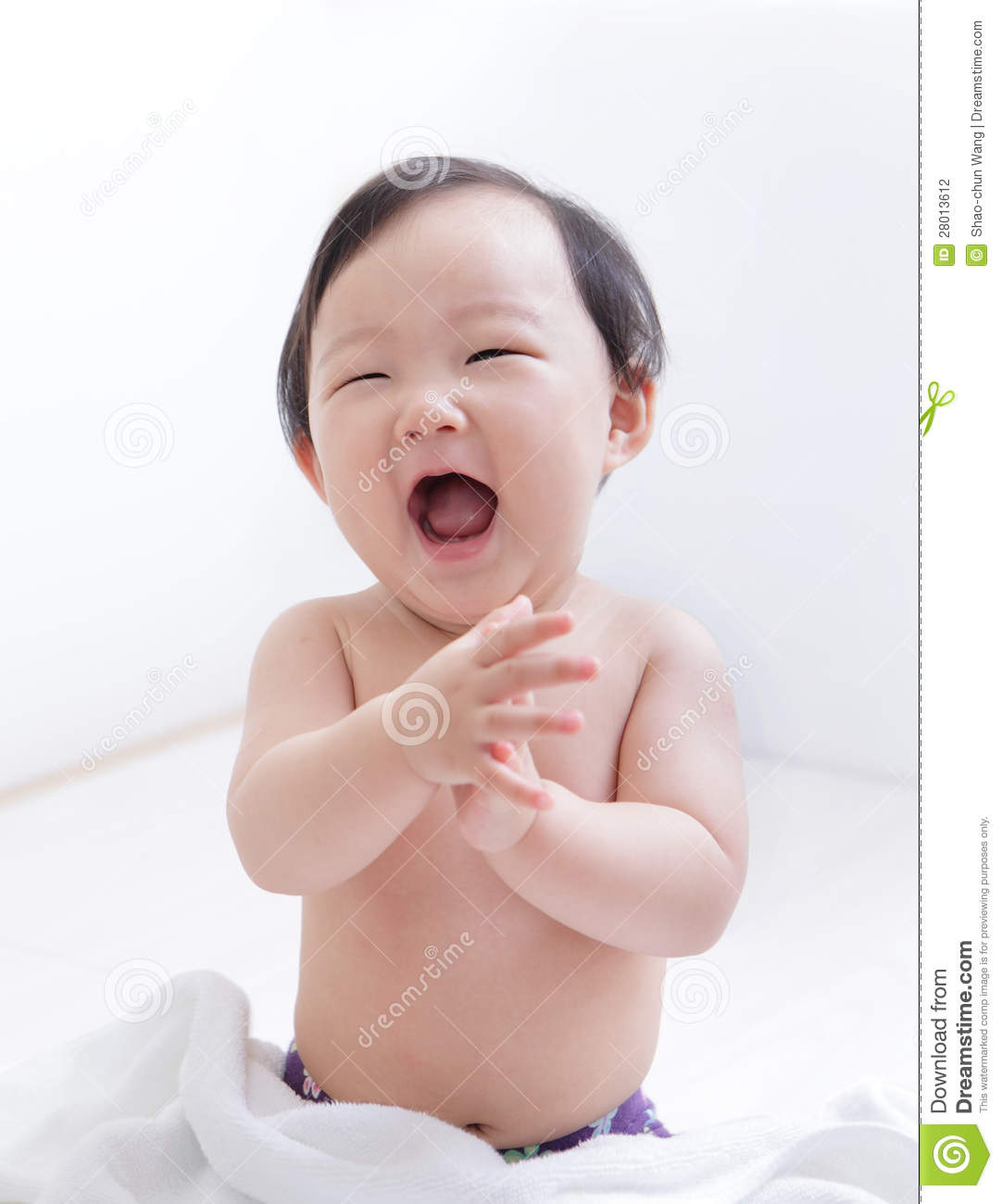 Excited Cute Baby Smile Face Stock Photo - Image of hands ...