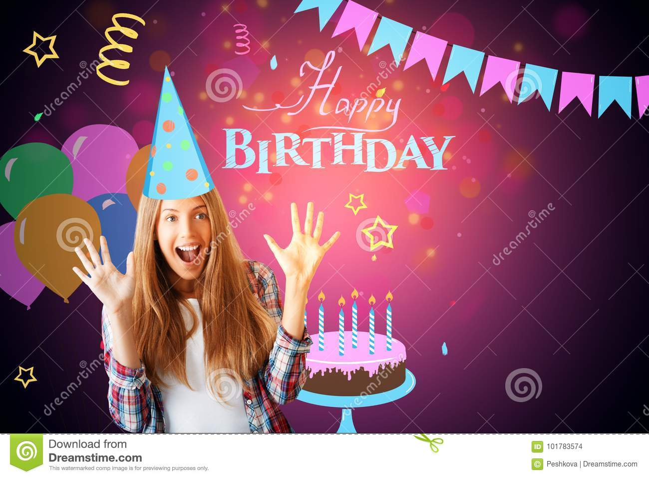excited european girl on birthday background stock photo image of