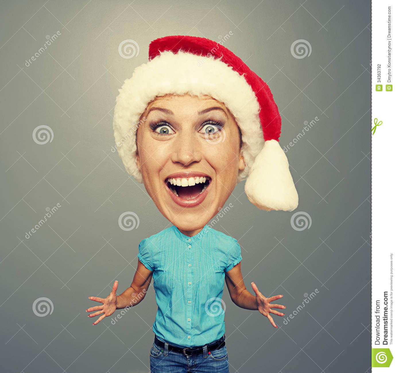 Excited And Funny Girl In Red Hat Stock Photo - Image ...