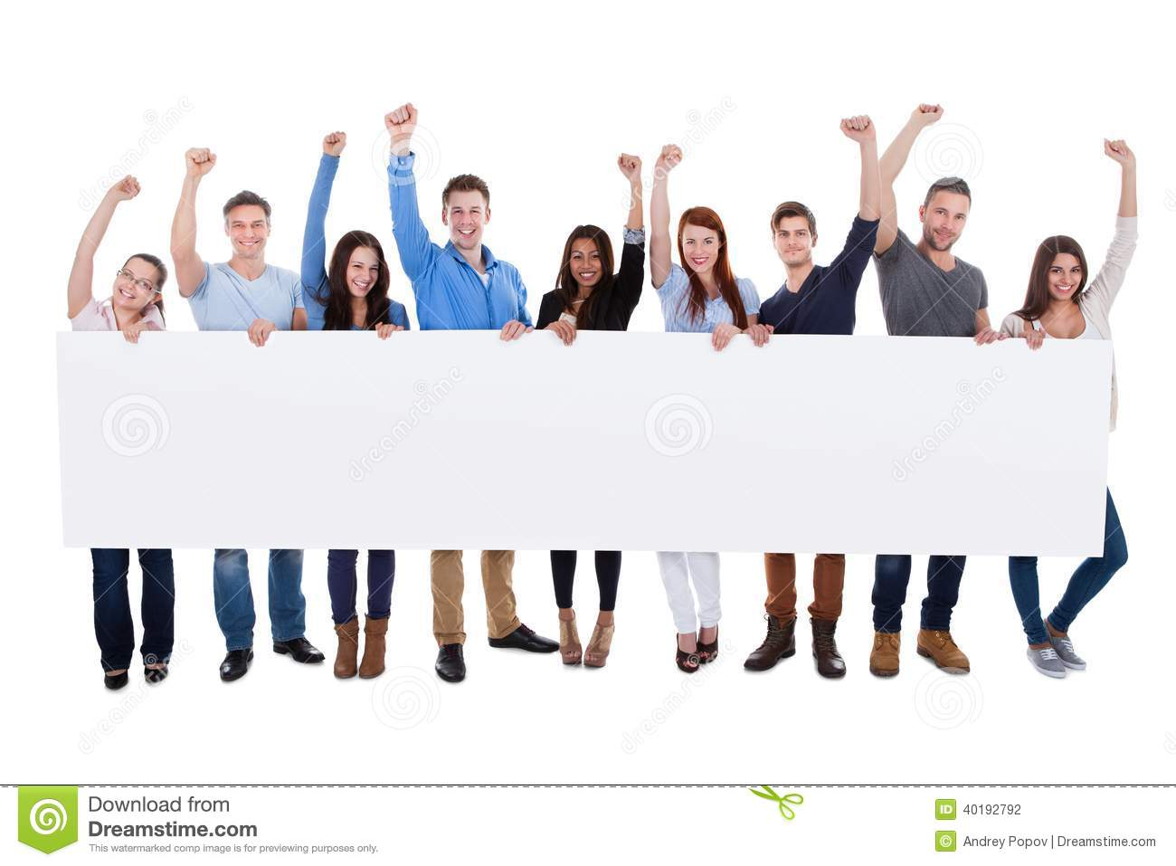 Excited Group Of Diverse People Holding Banner Stock Photo - Image ...