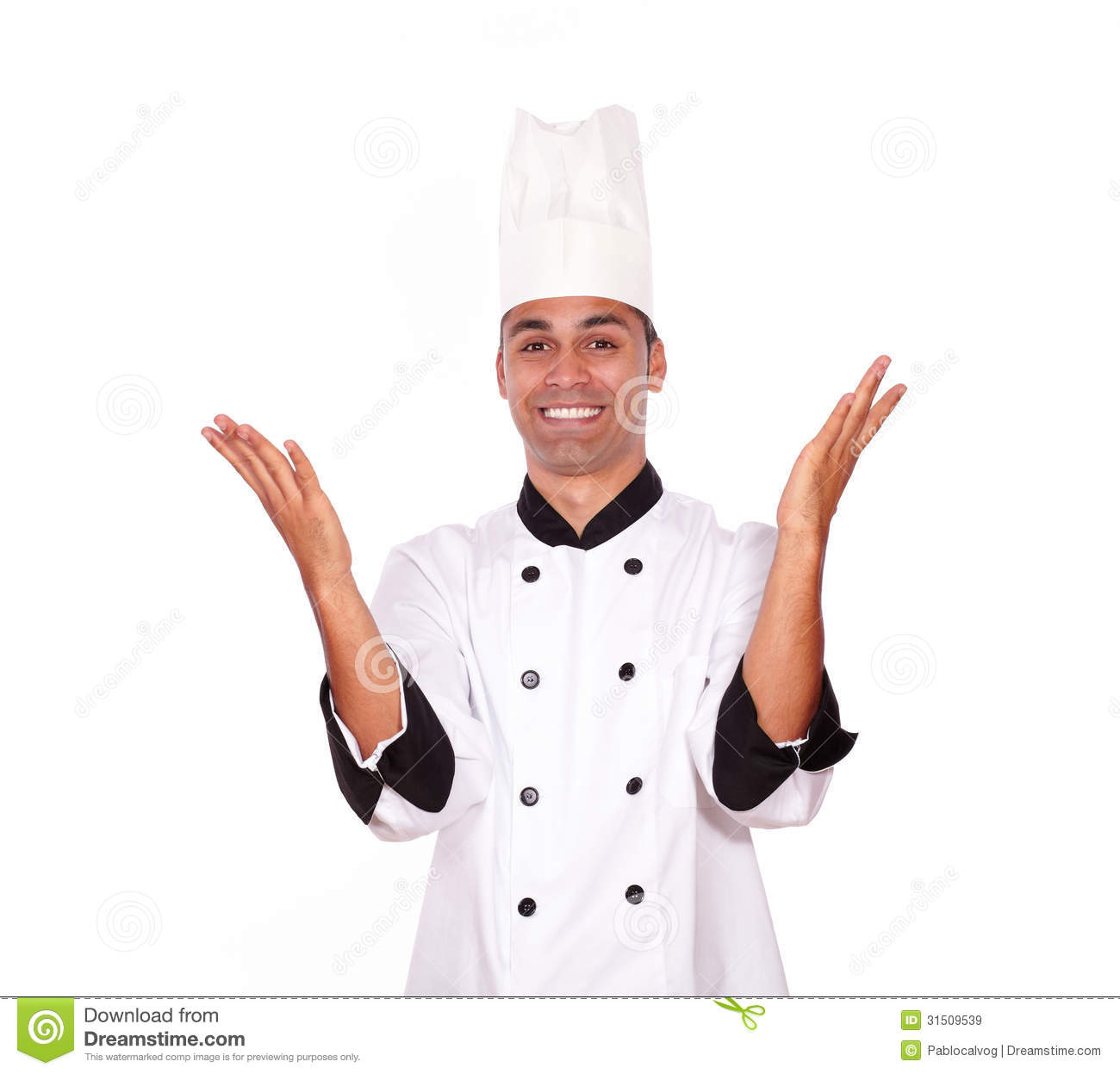 Excited male chef standing with hands up
