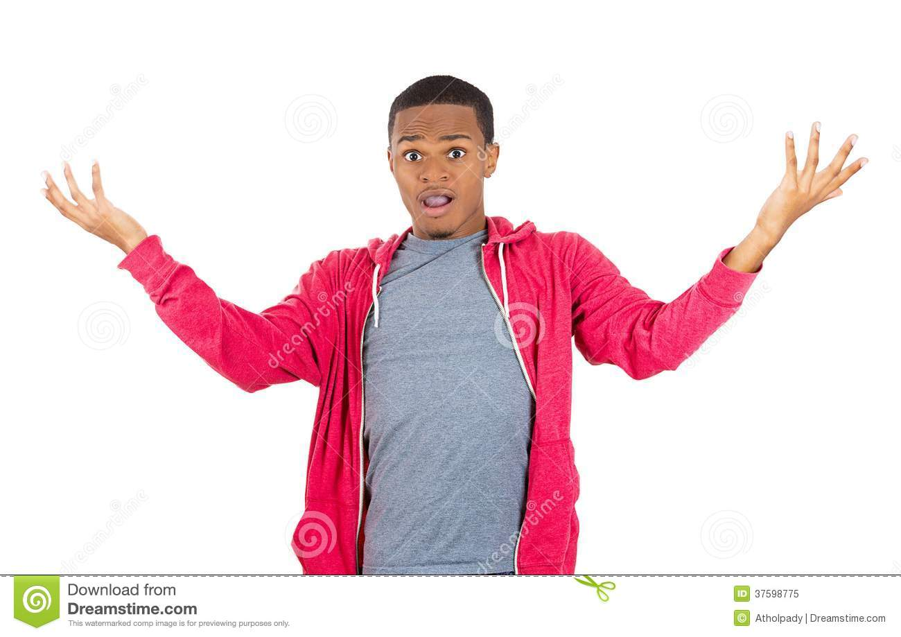 Excited Man With Hands Up In The Air Royalty Free Stock ...