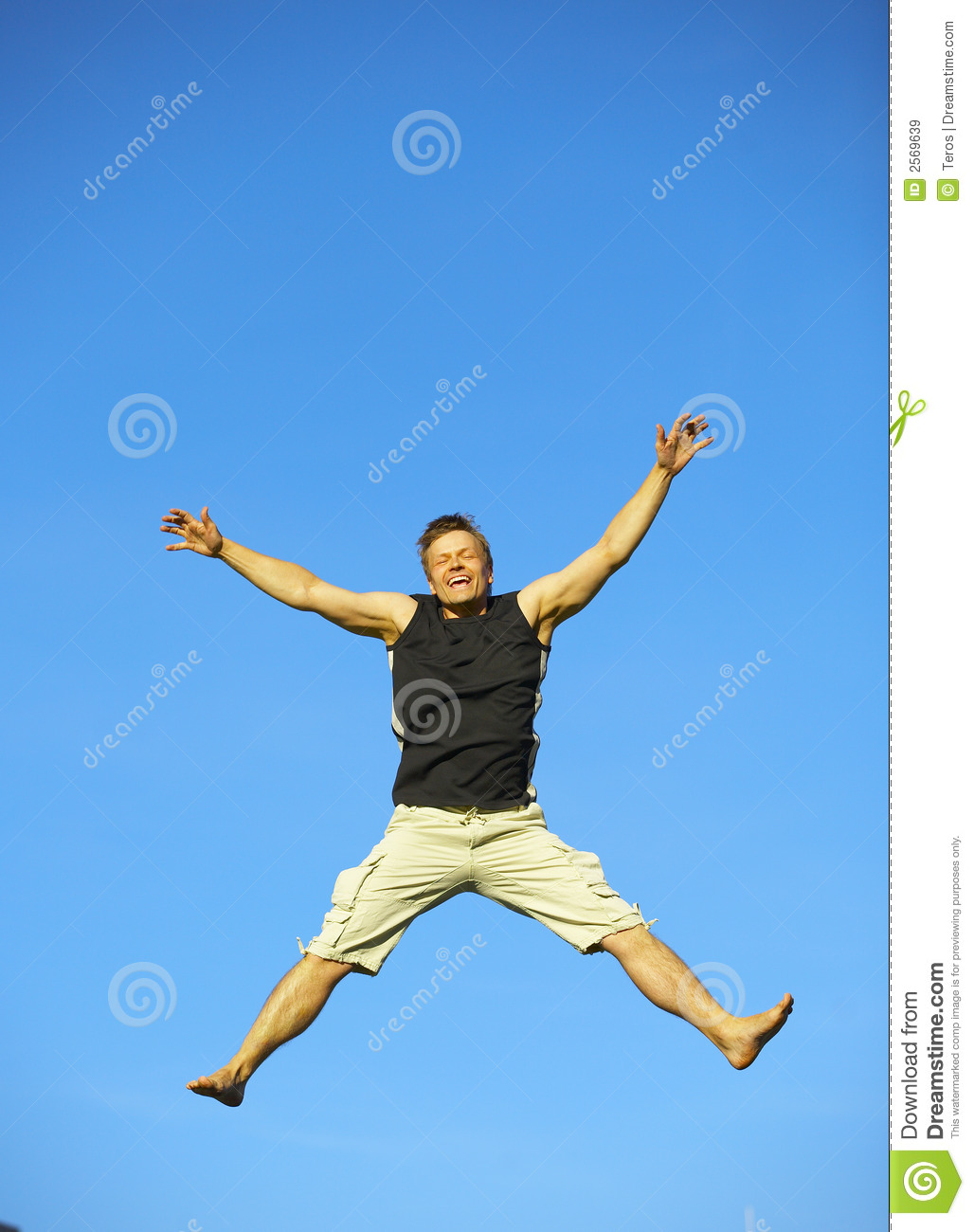 excited man jumping with joy royalty free stock images