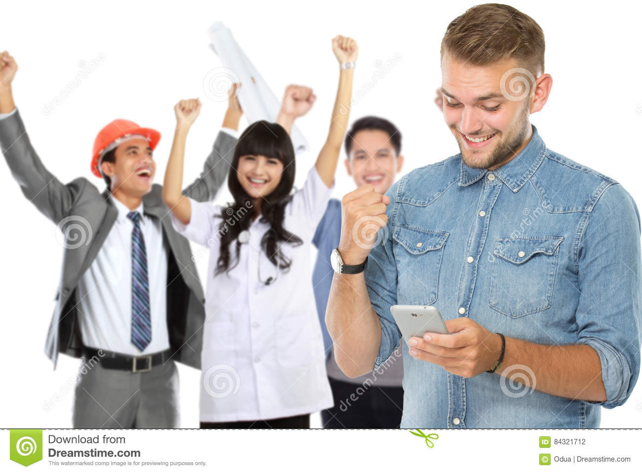 Excited man receiving a text message
