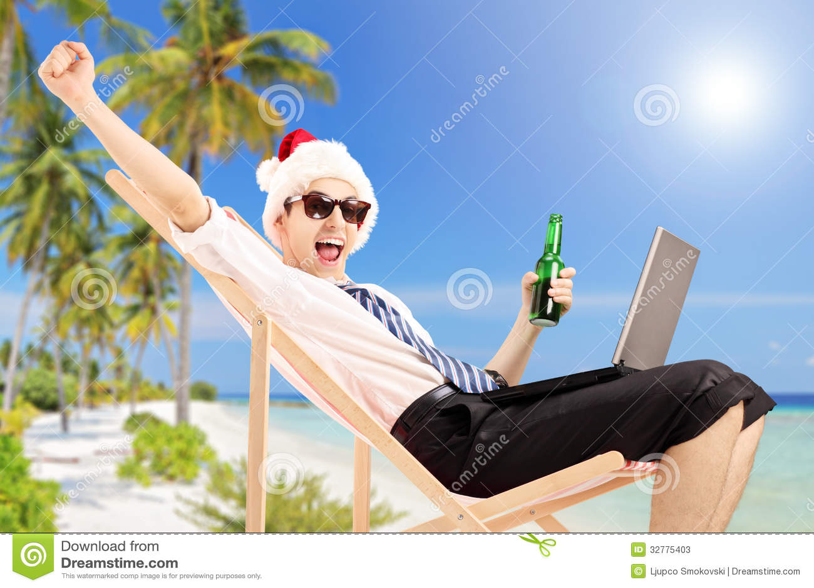 excited man with santa hat on a beach chair holding a beer beach umbrella clipart black and white beach umbrella clip art free