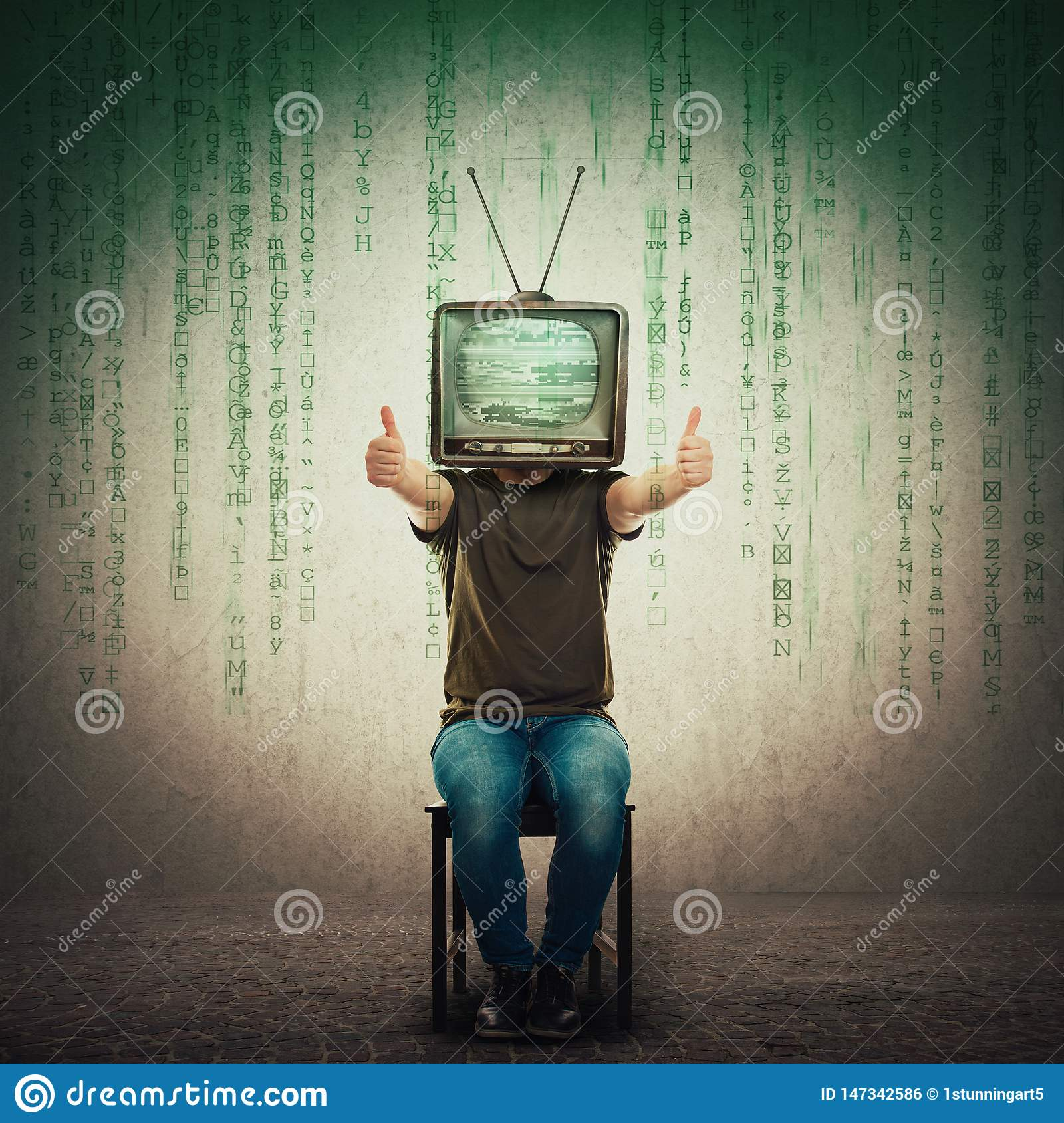 Excited man seated on a chair with an old TV instead of head showing thumbs up, positive feedback like gesture