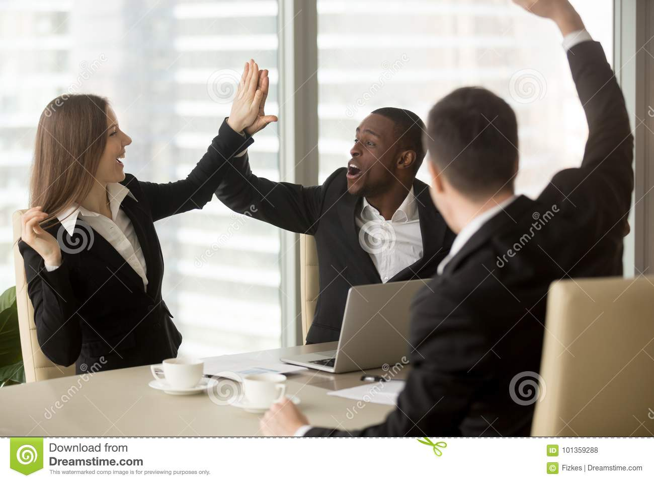 Excited Business Partners Celebrating Success Stock Photo ...