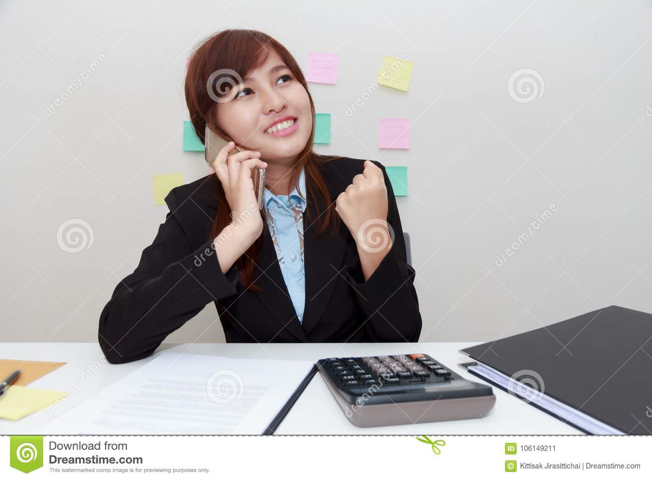 Excited Or Surprised Business Woman Talking With Someone On Smart