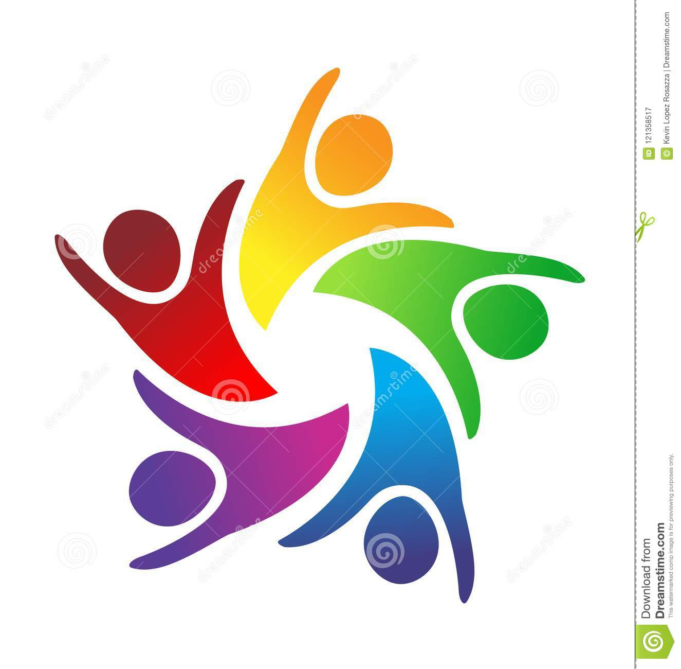 Excited Teamwork Friends People Logo Vector Stock Vector