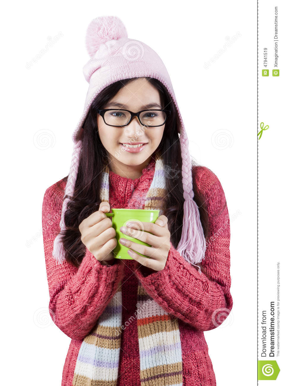 7b748853d Excited Teenage Girl In Winter Clothes Stock Image - Image of ...