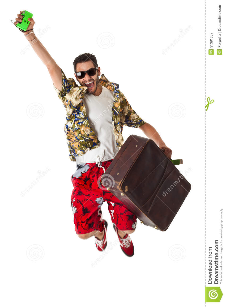 ... male in a colorful outfit ready to travel as a stereotype tourist