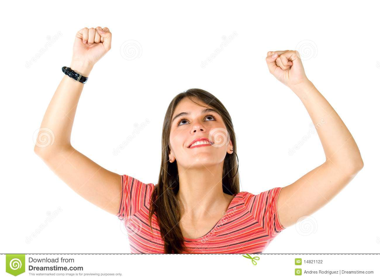 Excited Woman With Arms Up Stock Photography - Image: 14821122
