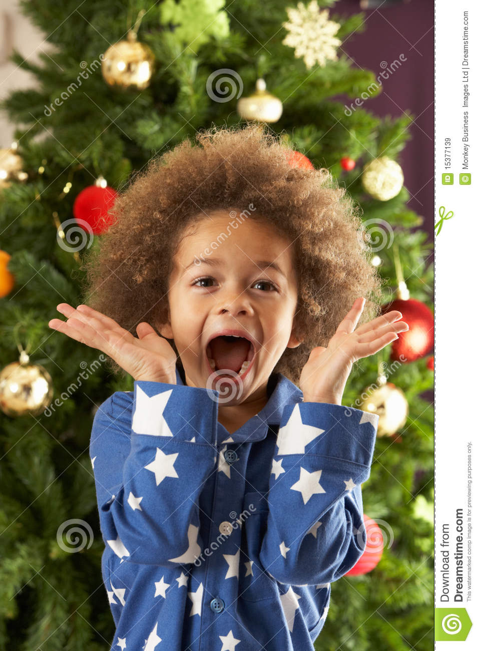 Excited Young Boy In Front Of Christmas Tree