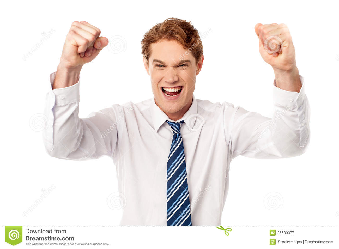 Excited Young Male Executive Royalty Free Stock ...